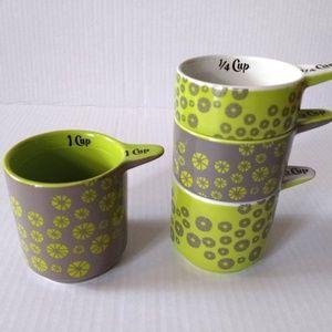 Kitsch'n Glam Owl Flower Measuring Cups Green Gray